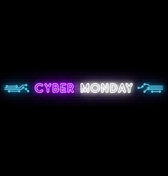 cyber monday neon long signboard bright design vector image