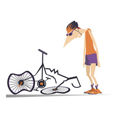 Cyclist and a broken bike isolated vector