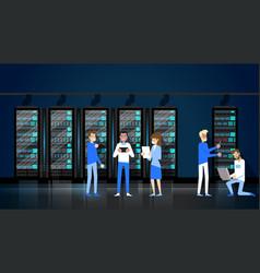 Data storage rack network staff administration vector