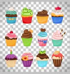 Delicious cupcakes set on transparent background vector