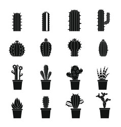 different cactuses icons set simple style vector image