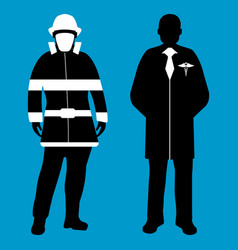 Doctor and fireman silhouette icon service 911 vector