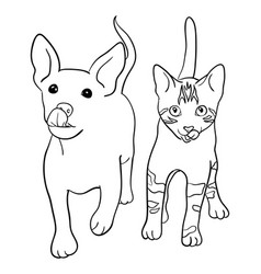 dog and cat line art 02 vector image