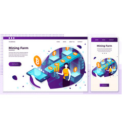 eps crypto currency mining process set vector image