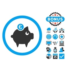 Euro Piggy Bank Flat Icon with Bonus vector image