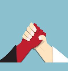 Evil vs god armwrestling promise competition vector