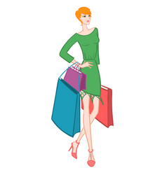 fasionable girl with shopping bags vector image