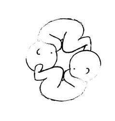 Figure nice babies twins with umbilical cord vector