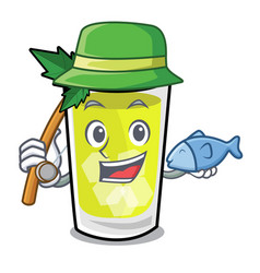 Fishing mint julep mascot cartoon vector