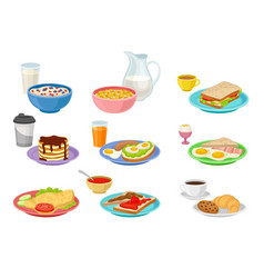flat set of food and drink icons tasty vector image
