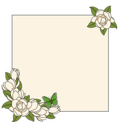 frame with magnolia flowers and a butterfly vector image