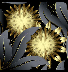 gold 3d flowers floral seamless pattern vector image