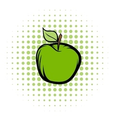 Green apple comics icon vector image