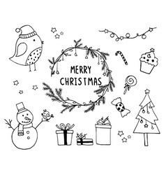 Hand drawn of design christmas elements vector