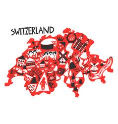 hand drawn stylized map switzerland landmarks vector image