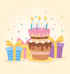 Happy birthday cake candles stars and gift boxes vector