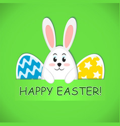 happy easter greeting card with colored eggs and vector image