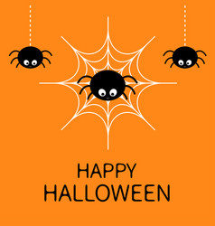 happy halloween card spider on the web cute vector image