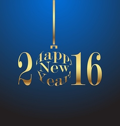 Happy New Year 2016 gold lettersn on a blue vector image