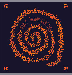 happy thanksgiving leaf spiral vector image