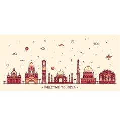 Indian skyline linear style vector