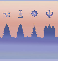 Indian temple and symbol vector