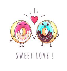 Kawaii funny donuts in love sweet fast food vector