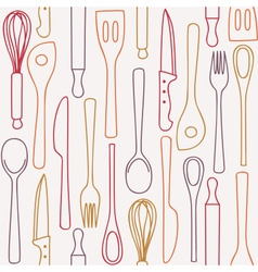 Kitchen utensils - seamless pattern vector image