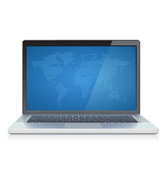 Laptop with abstract World map on screen vector