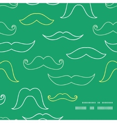 Line art mustaches frame corner pattern background vector