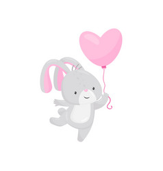 little bunny with pink heart-shaped balloon vector image