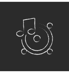 Loudspeakers with music note icon drawn in chalk vector image