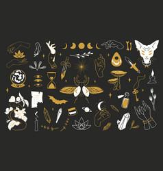 magic boho alchemy doodle logo esoteric symbols vector image