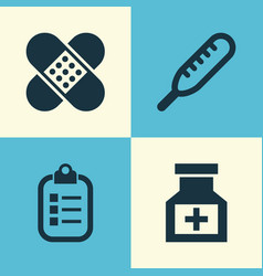 medicine icons set collection of mark drug vector image