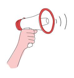 megaphone in hand loudspeaker vector image