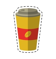 Paper coffee cup hot-cut line vector