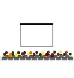 People isolated over white watching presentaion vector