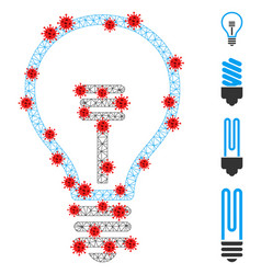 Polygonal network lamp bulb icon with pathogen vector