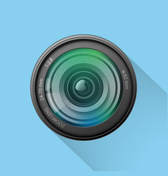 realistic camera lens icon on blue background vector image