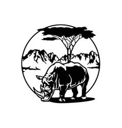 Rhino africa african landscape wildlife vector
