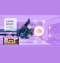 Robot hand holding thumb up over smart house vector