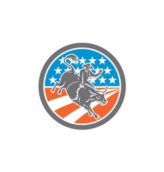 Rodeo cowboy bull riding flag circle retro vector