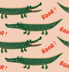 seamless pattern with cute cartoon crocodiles vector image