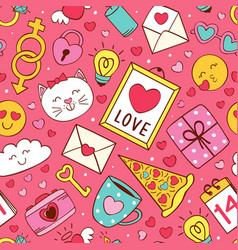 seamless pattern with love icons vector image