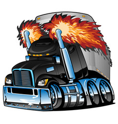 Semi truck tractor trailer big rig cartoon vector