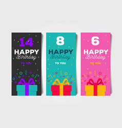 Set birthday greeting flyers with ift box and vector