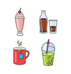 Set four beverages vector