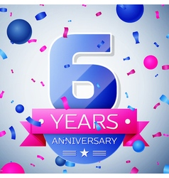 Six years anniversary celebration on grey vector image