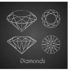 sketchy chalk-drawn diamond icons vector image