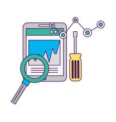 Smartphone diagram screwdriver magnifying glass vector
